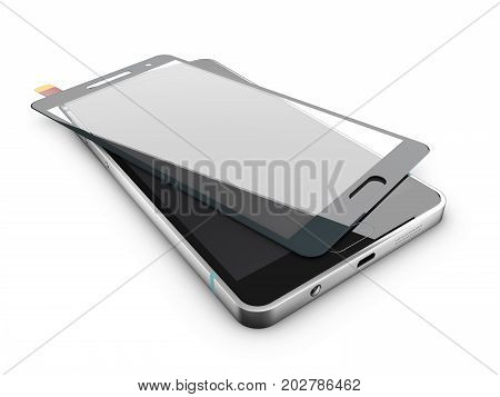 3d Illustration of Protecting cellular phone with a screen protector