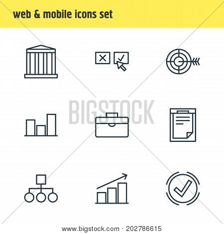 Editable Pack Of Recision, File, Scheme And Other Elements.  Vector Illustration Of 9 Management Icons.