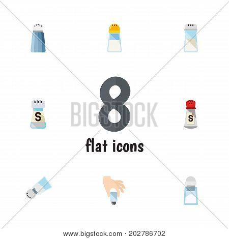 Flat Icon Sodium Set Of Spice, Salt, Condiment And Other Vector Objects