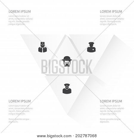 Icon Human Set Of Sheriff, Security Man, Detective And Other Vector Objects