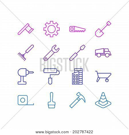 Editable Pack Of Handcart, Spade, Cogwheel Elements.  Vector Illustration Of 16 Structure Icons.