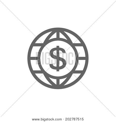 Vector of world and dollar icon combination. Symbol and sign vector illustration design. Editable Stroke. Isolated on white background