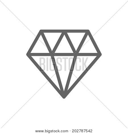 Simple diamond line icon. Symbol and sign vector illustration design. Editable Stroke. Isolated on white background