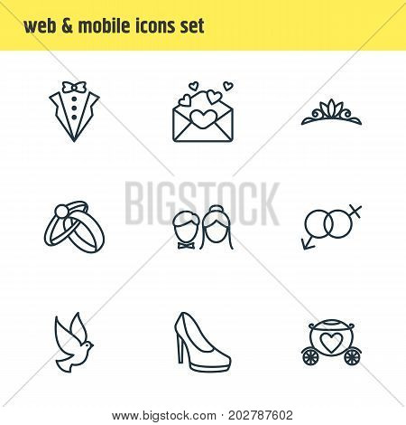 Editable Pack Of Chariot, Sexuality Symbol, Engagement And Other Elements.  Vector Illustration Of 9 Engagement Icons.