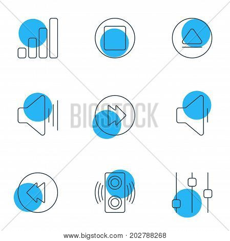 Editable Pack Of Reversing, Stabilizer, Amplifier And Other Elements.  Vector Illustration Of 9 Music Icons.