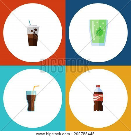 Flat Icon Drink Set Of Fizzy Drink, Cup, Carbonated And Other Vector Objects