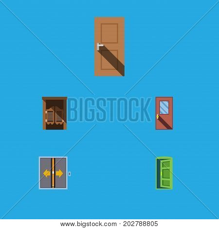 Flat Icon Approach Set Of Door, Saloon, Frame And Other Vector Objects