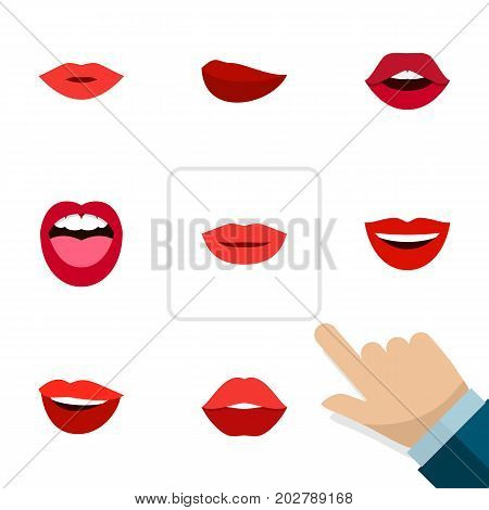 Flat Icon Mouth Set Of Teeth, Pomade, Smile And Other Vector Objects