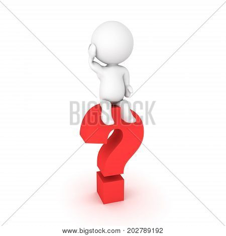 3D Character sitting on a question mark and scratching his head. Isolated on white.