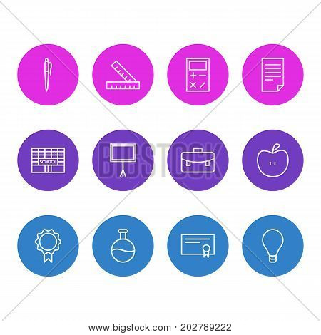 Editable Pack Of Paper, Diploma, Meter And Other Elements.  Vector Illustration Of 12 Studies Icons.