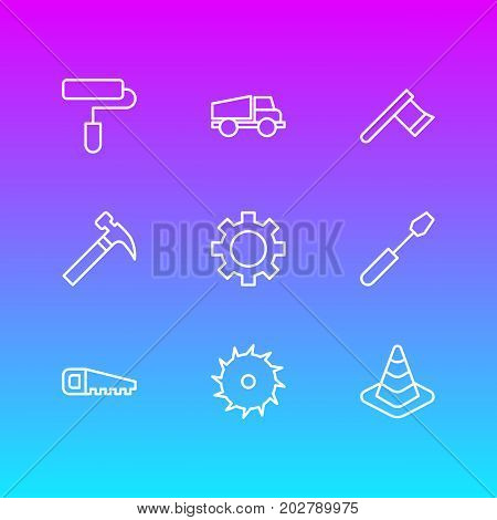 Editable Pack Of Turn Screw, Roller, Circle Blade And Other Elements.  Vector Illustration Of 9 Construction Icons.
