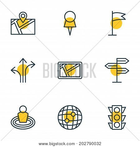 Editable Pack Of World, Place, Pin And Other Elements.  Vector Illustration Of 9 Location Icons.