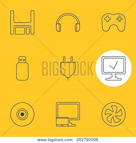 Editable Pack Of Diskette, Flash Drive, Headsets And Other Elements.  Vector Illustration Of 9 Notebook Icons.