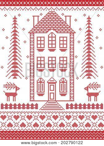 Nordic style and inspired by Scandinavian Christmas pattern illustration in cross stitch in red and white including  gingerbread house, snowflake, heart, fence, decorative seamless ornate patterns
