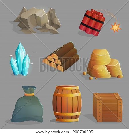 Exploration and mining of natural resources. Set of crates and containers iron ore gems dinamite. Game and app ui icons.