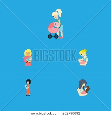 Flat Icon Mam Set Of Mother, Newborn Baby, Parent And Other Vector Objects