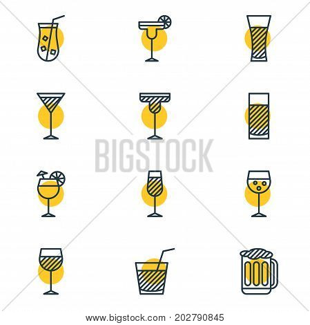 Editable Pack Of Wineglass, Margarita, Beverage And Other Elements.  Vector Illustration Of 12 Beverage Icons.