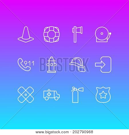 Editable Pack Of Door, Hardhat, Hotline And Other Elements.  Vector Illustration Of 12 Necessity Icons.
