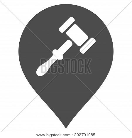 Auction Hammer Marker vector pictogram. Style is flat graphic grey symbol.