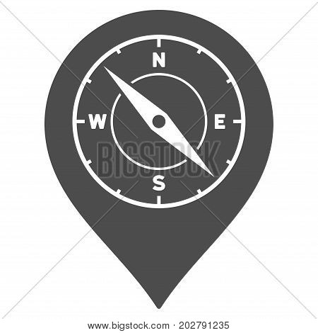 Compass Map Marker vector icon. Style is flat graphic grey symbol.