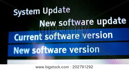 New system software found current software and new one- message on the screen of modern TV set