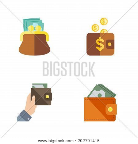 Flat Icon Billfold Set Of Purse, Pouch, Wallet And Other Vector Objects