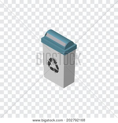 Garbage Container Vector Element Can Be Used For Trash, Junk, Bin Design Concept.  Isolated Trash Bin Isometric.