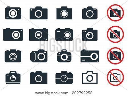 digital camera icons, photocamera vector icon set
