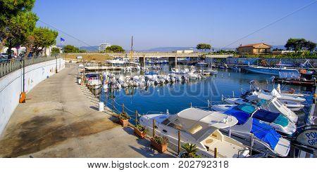 Apulia Italy 12 Lug 2017: Porto di Foce Varano (Foce Varano docks) near Ischitella in Apulia Gargano.