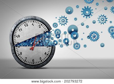Business time concept and organizing a schedule idea as an open clock with gear and cogwheel objects coming out as a corporate meeting schedule management as a 3D illustration.