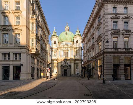 Church in the evening. Vienna Austria. Europe