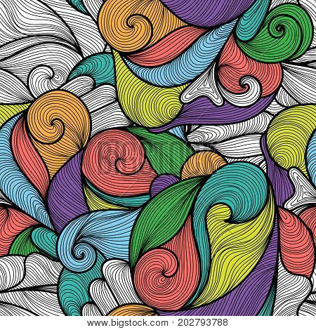 Seamless abstract hand-drawn waves pattern wavy background. Stripes lines water or wind flow doodle ornament. Seamless pattern can be used for wallpaper pattern fills web page backgroundsurface textures. Gorgeous seamless floral background