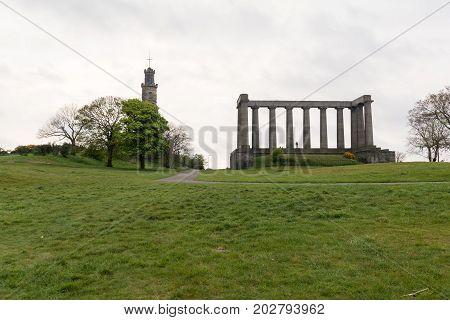 National Monument On Calton Hill In Edinburgh, Scotland.