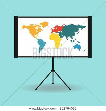 Flipchart whiteboard or projection screen with world map. Flat design. Vector illustration.