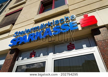 Schladming, Austria - August 15: Erste Group Bank Ag Company Logo On Headquarters Building On August