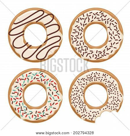 Set of vector glazed white chocolate donuts