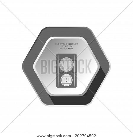 Vector isolated dark gray icon of electric outlet type B with mechanic round timer on the hexagon background with shadow for use in USA and Canada.