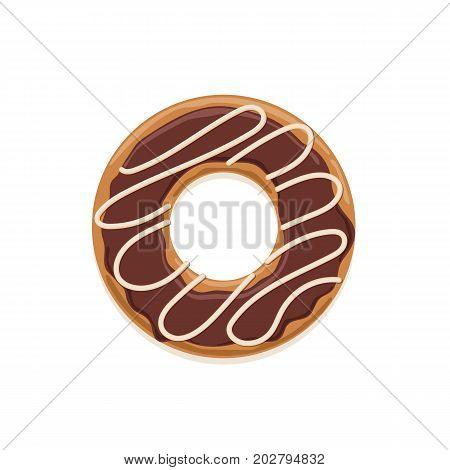 Vector icon of glazed dark chocolate donut with white chocolate stripes