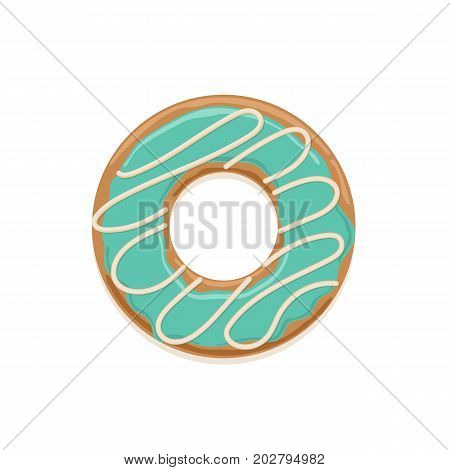 Vector icon of glazed mint donut with white chocolate stripes