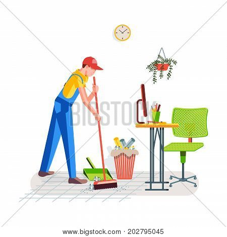 Office cleaning. Cleaning the floor from debris in the office. Worker sweeps the floor a broom against the background of the interior. Vector illustration in a flat style.