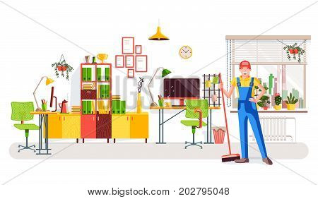 Office cleaning. Worker in uniform with a broom on the background of the office interior with a view of the window with flowers, work desks and a bookcase with book and awards. Vector illustration.