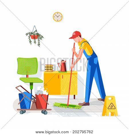Cleaning of office. Cleaning the floor in the office. Worker wipes the floor with a mop on the background of the interior. Vector illustration in a flat style