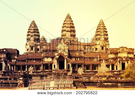 Angkor Wat part of Khmer temple complex Asia. Siem Reap Cambodia. Ancient Khmer architecture in jungle.