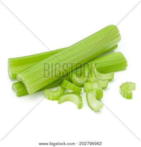 Celery stalk bunch isolated om white background cut out.