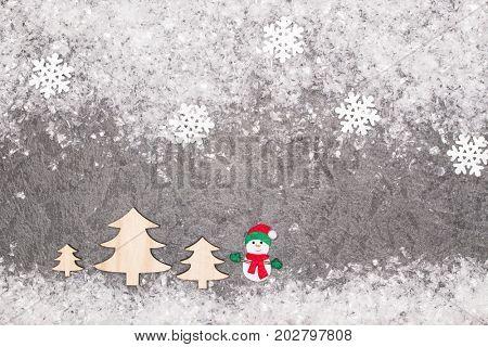 Christmas greeting card. Noel festive background. New year symbol. Snowman.