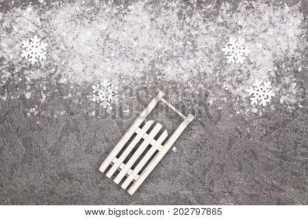 Christmas greeting card. Noel festive background. New year symbol. Sleigh.