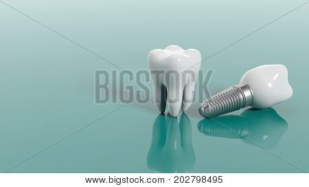 Tooth and dental implant isolated on green background. 3d illustration