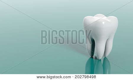 Tooth isolated on green background. 3d illustration