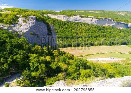 Canyon in the mountains of Crimea. Canyon and far.