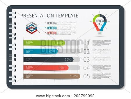 Horizontal Brochure or book or notepad with springs business infographic template. Template for presentation background, chart, graph. Vector illustration.